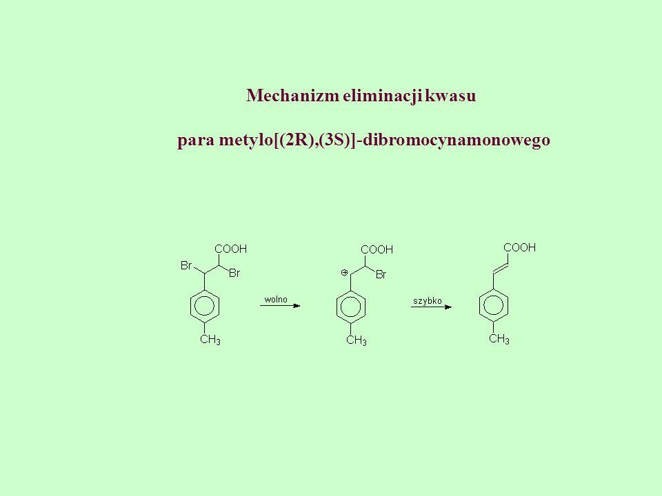 Mechanizm eliminacji kwasu para metylo[(2R),(3S)]-dibromocynamonowego